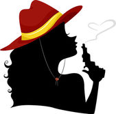 Silhouette of a Cowgirl Blowing the Tip of Pistol — Stock Photo