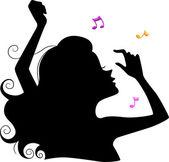 Silhouet van een dansende meisje — Stockfoto