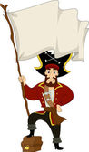 Pirate with Treasure Chest and Pirate Flag — Stock Photo