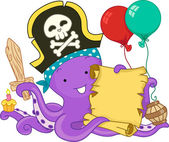 Pirate Octopus Birthday — Stock Photo