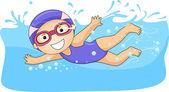 Liten flicka simning — Stockfoto
