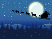 Santa Claus in Flying Sleigh on a Full Moon — Stock Photo