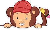 обезьяна с карандашом, заглядывать на пустой доске — Стоковое фото