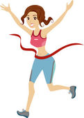 Girl Marathon Runner Reached Finish Line Ribbon — Stock Photo