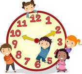 Kids on a Big Clock — Stock Photo