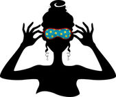 Silhouette of a Girl Wearing a Sleeping Mask — Stock Photo