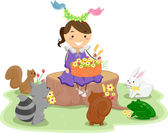 Girl with a Basket of Flowers surrounded by Cute Animals — Stock Photo