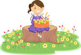Little Girl with Basket of Flowers — Stock Photo