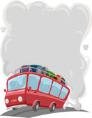 Travelling Bus with Smoke — Stock Photo