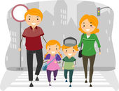 Family Using the Pedestrian Lane — Stock Photo