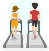 Back View of Couple on a Treadmill — Stock Photo