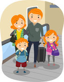 Family in a Moving Walkway — Stock Photo