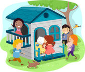 Kids on an Outdoor Playhouse — Stock Photo