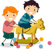 Boys with a Wooden Toy Horse — Stock Photo