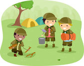 Boyscouts on Camping — Stock Photo