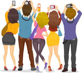 Back View of Teens with Cameras — Stockfoto