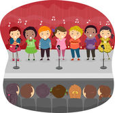 Kids Singing Onstage — Stock Photo