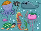Underwater Pirates Design Elements — Stock Photo