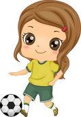 Çocuğun futbol kız — Stok fotoğraf