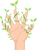 Hand with Leaf Vines — Stock Photo
