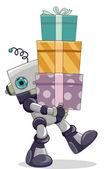 机器人携带礼品 — 图库照片