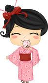 Little Japanese Girl Wearing National Costume — Stock Photo