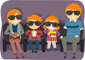 Family Watching a 3D or 4D Movie — Stock Photo