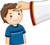 Chłopiec popiołu środa krzyż znak — Zdjęcie stockowe