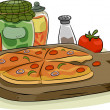 Pizza with Toppings and Spices — Stockfoto