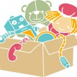 Foto Stock: Box of Toys Stencil
