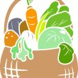 Foto Stock: Vegetable Basket Stencil