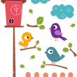 Bird with Birdhouse Sticker Designs — 图库照片