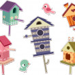 Cute Bird House Sticker Designs — Stock Photo