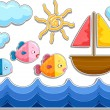 Fishes, Sailboat and Sea Sticker Designs — Stock Photo