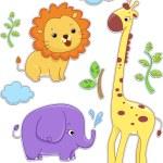 Safari Animals Sticker Designs — Stock Photo