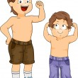 Strong Little Boy Siblings with Arms Flexed — Foto Stock