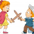 Stock Photo: Kid Siblings Playing Swordfight