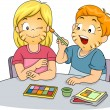 Kids Doing Face Painting — Stock Photo