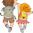 Back View of Kids wearing a Backpack Jumping — Stock Photo