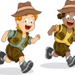 Boy and Girl Kids Running for Safari Adventure — Stock Photo