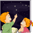 Stock Photo: Kid Siblings Studying Constellations