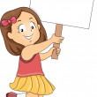 Little Kid Girl with Blank Signboard 2 — Stock Photo #27648277