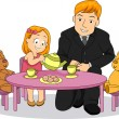 Little Kid Girl playing Tea party with her Father — Stock Photo