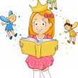 Stock Photo: Little Kid Girl reading Fantasy Book with Fairies