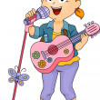 Little Kid Girl Performing using Toy Guitar and Microphone — Stock Photo #27648381