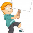 Kid Boy Carrying a Blank Signboard — Stock Photo #27648425