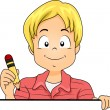 Stock Photo: Little Kid Boy Holding a Pencil with Blank Board