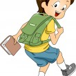 Kid Boy Student with Backpack 2 — Stock Photo