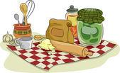 Baking Utensils and Ingredients — Stock Photo