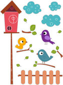 Bird with Birdhouse Sticker Designs — Stock Photo